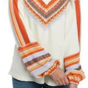 Free People Size Large Copenhagen Thermal Knit Top